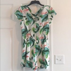 Flamingo Palm printed button front romper
